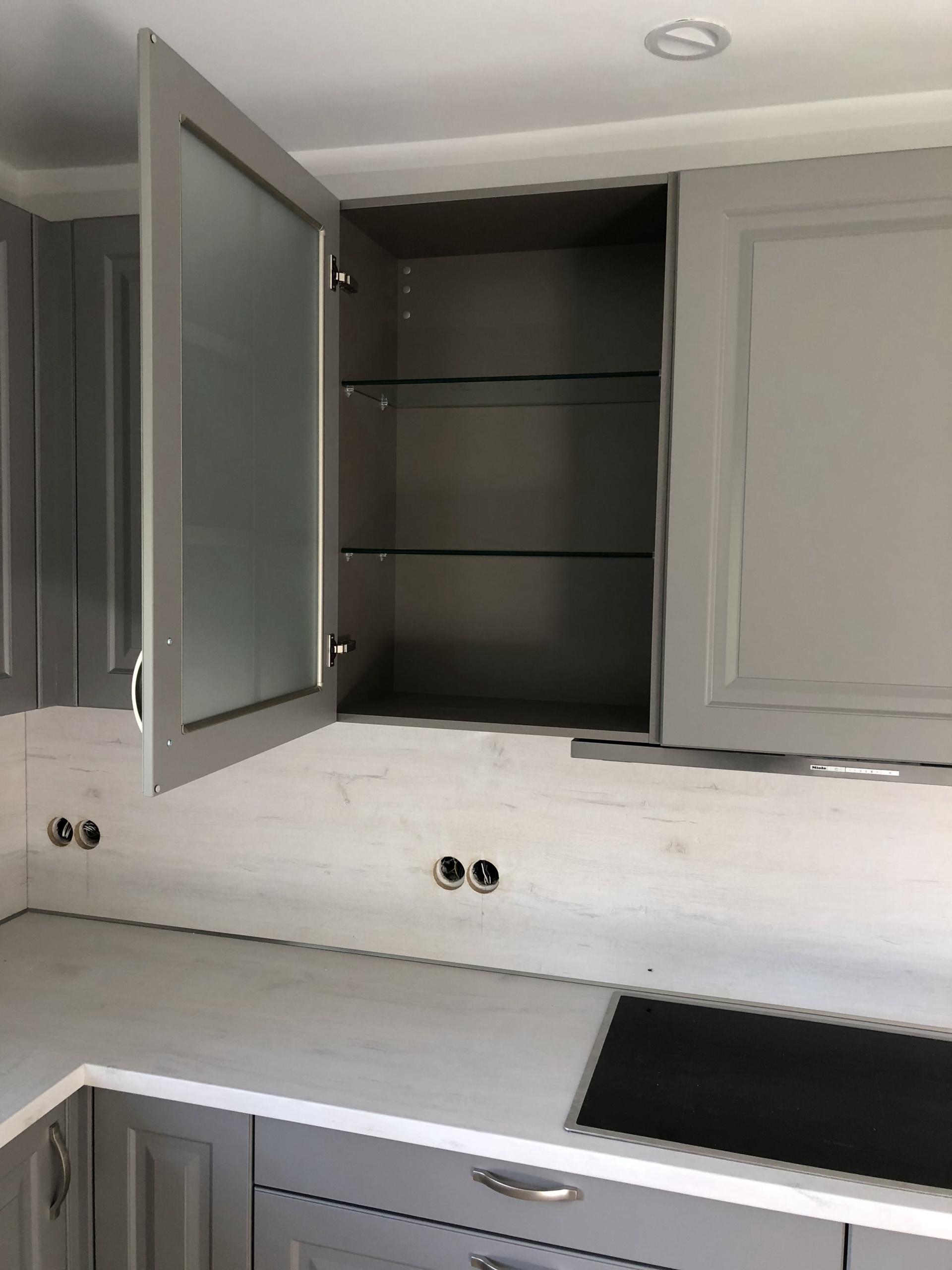 Winkelküche Inox Grau Glashänger